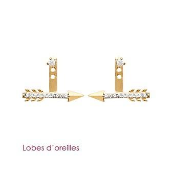 Lobes d'oreilles plaqué-or 750/000 3 microns bicolore oz