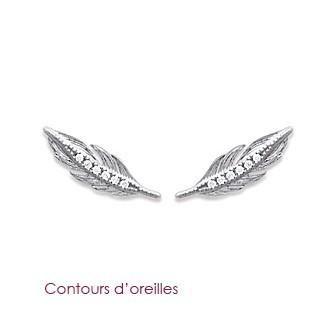 Boucles contours d'oreilles argent rhodiée 925/000 oz