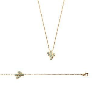 Bracelet/collier plaqué or 750/000 3 microns pierres synthétiques - JHBICIBI