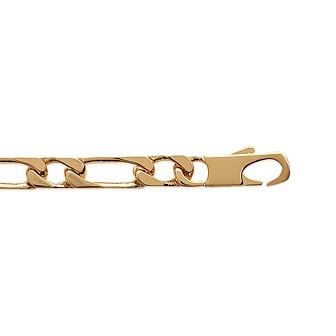 Bracelet plaqué-or 750/000 3 microns maille figaro diamantée CDBCCACB