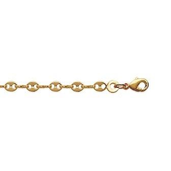 Bracelet plaqué-or 750/000 3 microns maille grain de café agrafée