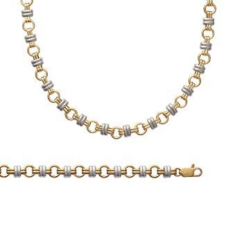 Bracelet plaqué-or 750/000 3 microns bicolore