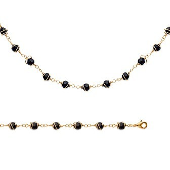 Bracelet femme plaqué-or 750/000 3 microns imitation onyx