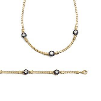 Bracelet femme plaqué-or 750/000 3 microns oz pierres synthétiques