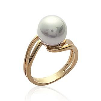 Bague plaqué-or 750/000 3 microns imitation perle