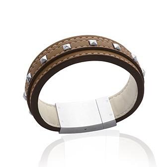 Bracelet acier 316 L cuir - DBACAFBI