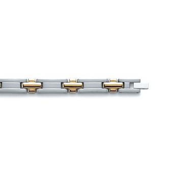 Bracelet acier 316 L plaqué-or 3 microns bicolore