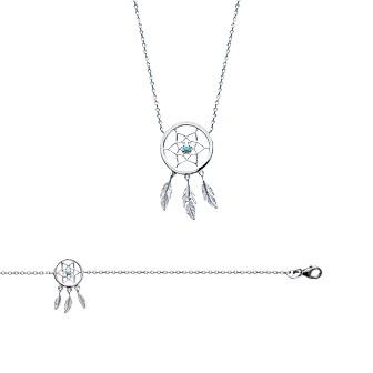 Collier femme en argent rhodiée 925/000 et pierres synthétiques 87175745