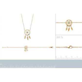 Collier femme plaqué-or 750/000 3 microns et pierres synthétiques 97175745