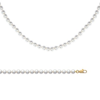 Collier femme plaqué-or 750/000 3 microns imitation perles Majorque 4516140