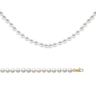 Collier femme plaqué-or 750/000 3 microns et imitation perles Majorque 4517150