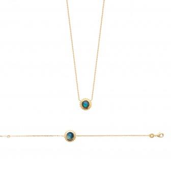 Bracelet plaqué-or 750/000 3 microns Labradorite 97308618