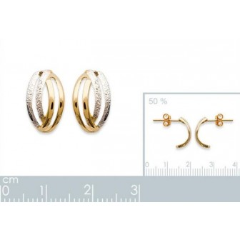 Boucles d'oreilles plaqué or 750/000 3 microns bicolore