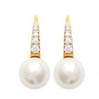 Boucles d'oreilles plaqué or 750/000 3 microns bicolore oz imitation perle