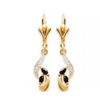 Boucles d'oreilles plaqué-or 750/000 3 microns bicolore pierre véritable