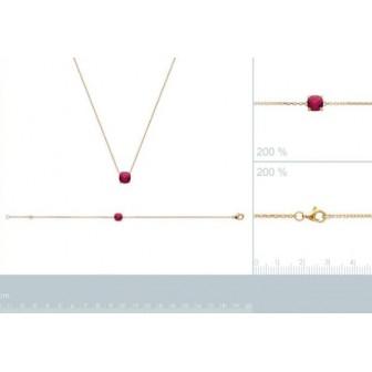 Bracelet plaqué-or 750/000 3 microns pierre synthétique 97304318