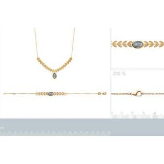 Collier plaqué-or 750/000 3 microns Labradorite 97308345