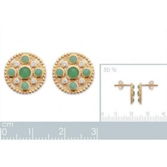 Boucles d'oreilles plaqué-or 750/000 3 microns Aventurine 2557850
