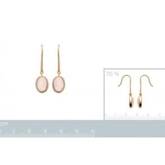 Boucles d'oreilles plaqué-or 750/000 3 microns Pierre Quartz Rose 2559280