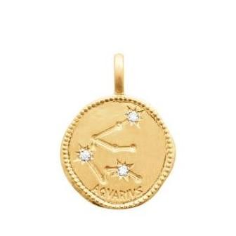 Pendentif zodiaque constellation verseau plaqué-or 750/000 3 microns oz 27687101