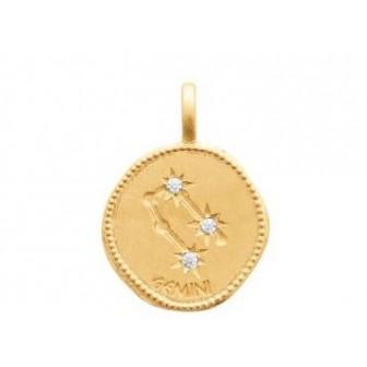 Pendentif zodiaque constellation gémeaux plaqué-or 750/000 3 microns oz 27687105