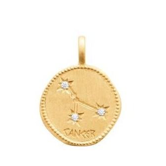 Pendentif zodiaque constellation Cancer plaqué-or 750/000 3 microns oz 27687106