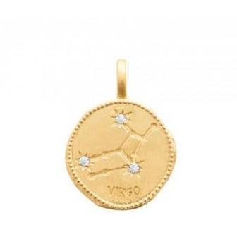 Pendentif zodiaque constellation Vierge plaqué-or 750/000 3 microns oz 27687108