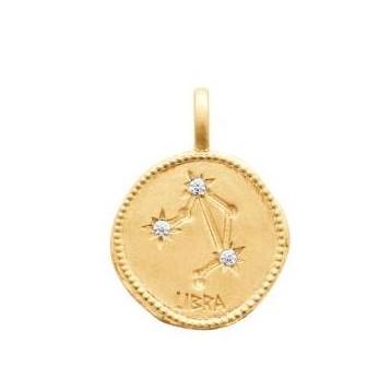 Pendentif zodiaque constellation Balance plaqué-or 750/000 3 microns oz 27687109