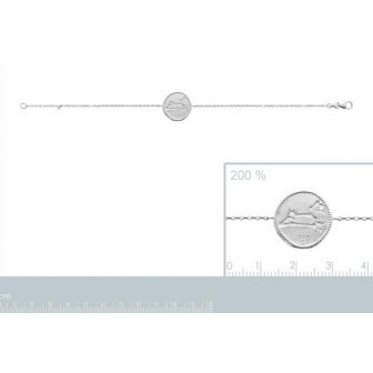 Bracelet argent rhodié 925/000 oz Lion 873159