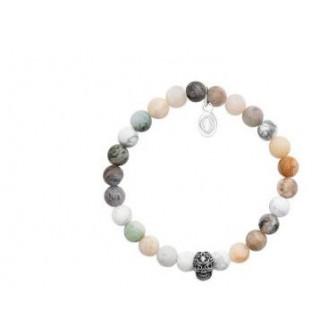 bracelet acier 316 L et pierres naturelles Howlite et Agate 312032