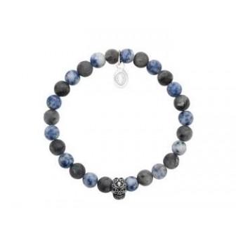 Bracelet acier 316 L et pierre naturelle Sodalite 312029
