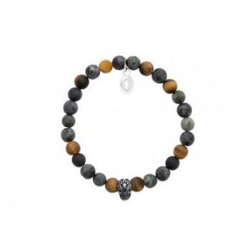 Bracelet acier 316 L et pierres véritables œil de tigre,Labradorite et Jaspe 312030
