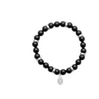 Bracelet acier 316 L et pierre agate noire 312024