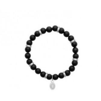 Bracelet acier 316 L et pierres Agate noires mates 312025