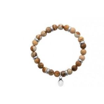 Bracelet acier 316 L et pierre naturelle Jaspe marron 312018