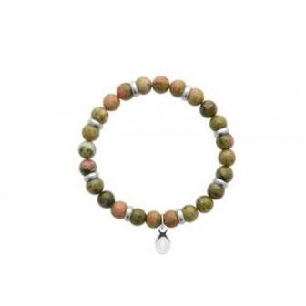 Bracelet acier 316 L et pierre naturelle Unakite 312014