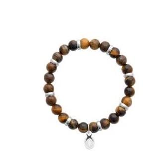Bracelet acier 316 L et pierre naturelle oeil de tigre 312023