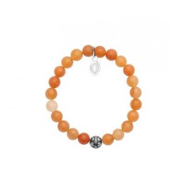 Bracelet acier 316 L et pierre Aventurine orange 312041