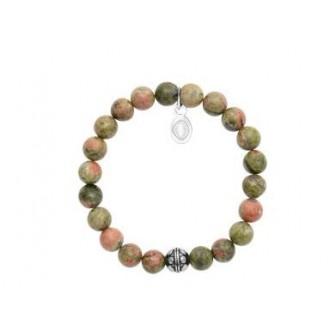 Bracelet acier 316 L et pierre naturelle Unakite 312044