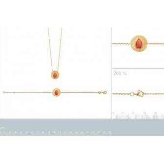 Bracelet plaqué-or 750/000 3 microns pierre synthétique 97317618