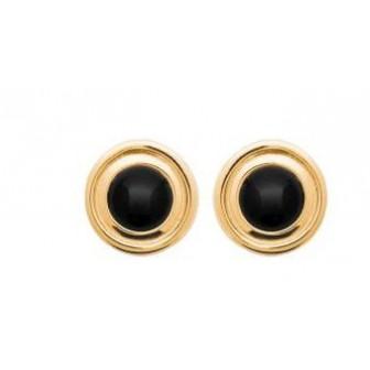 Boucles d'oreilles plaqué-or 750/000 3 microns pierre Agate noire 2565107