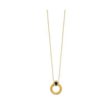 Collier plaqué-or 750/000 3 microns pierre Agate noire 97322345