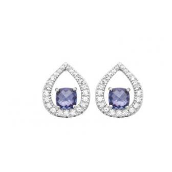 Boucles d'oreilles argent rhodié 925/000 oz pierre synthétique 1572740