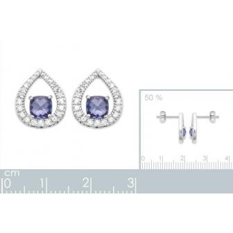 Boucles d'oreilles argent rhodié oz pierre synthétique 1572740