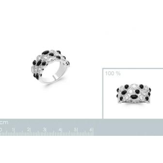 Bague argent rhodié 925/000 oz pierres véritables 1291007