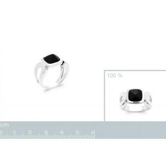 Bague argent rhodié 925/000 Agate noire 1299107