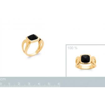 Bague plaqué-or 750/000 5 microns Agate noire 2299107