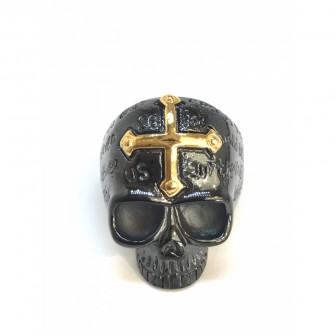 Bague acier tête de mort avec la croix BA067