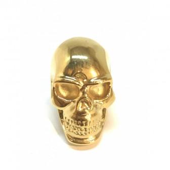 Bague acier tête de mort doré BA025