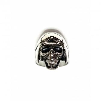 Bague acier tête de mort avec casque BA129